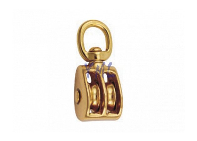 BP02 0178B Brass Swivel Double Sheave Pulley